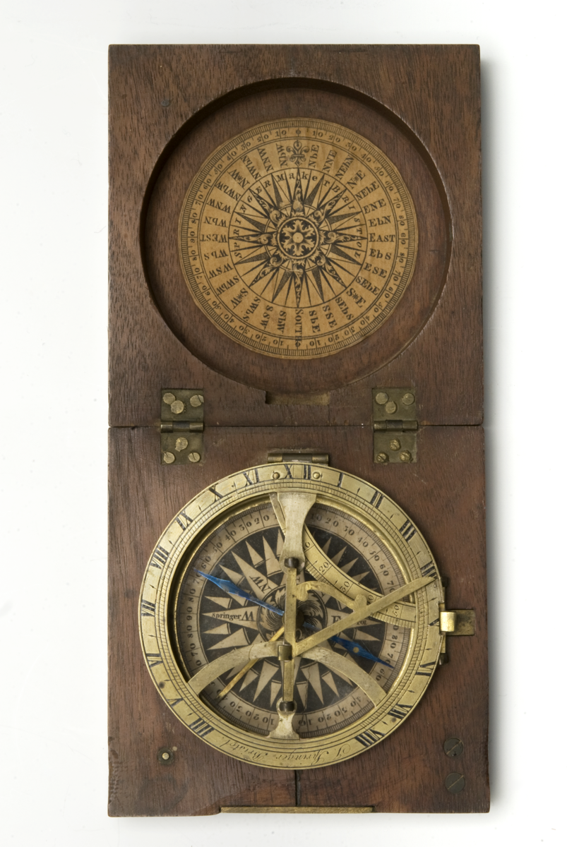 18th-century sundial and compass in a mahogany case