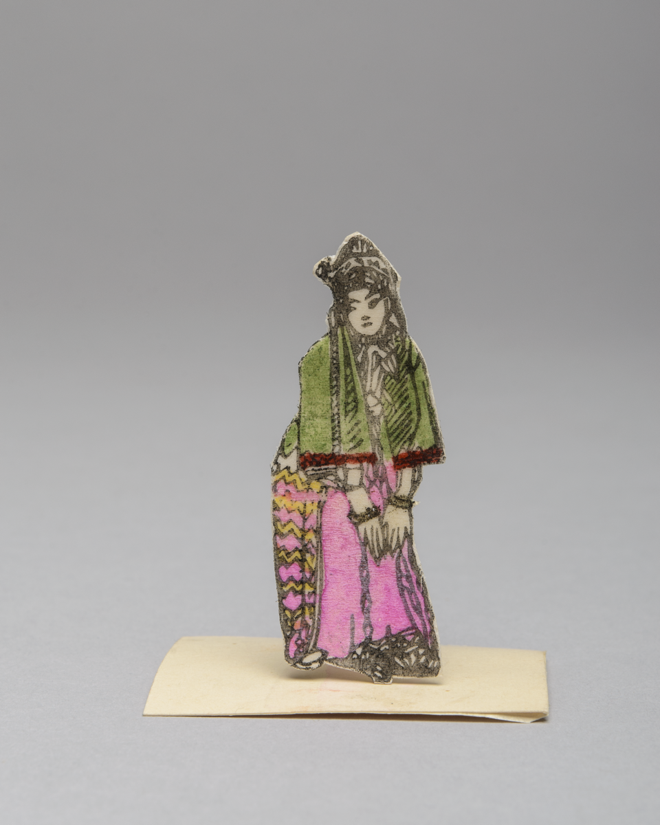 A flat paper figure of the Chinese Opera character Nein Chin Feng