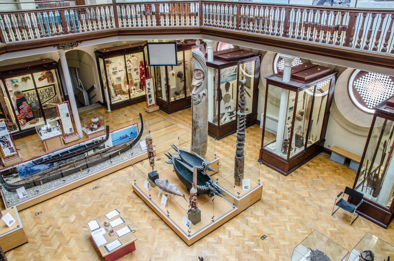 A view of the Maudslay Gallery, looking down from the mezzanine at MAA