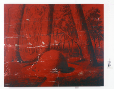 'The Island I' [red mound], by Brook Andrew, 2007. Screen print in mixed media on linen.