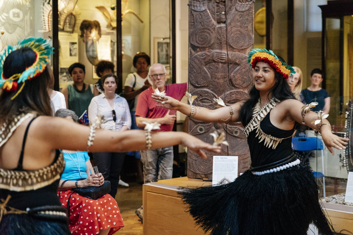 Two Kiribati Dancers performing at the opening for the Pacific Currents exhibition