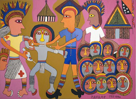 'Biting the Doctor's Arm' by Mathias Kauage, 1990. This artwork portrays the artist's own resistance to having an injection while a child in Papua New Guinea.