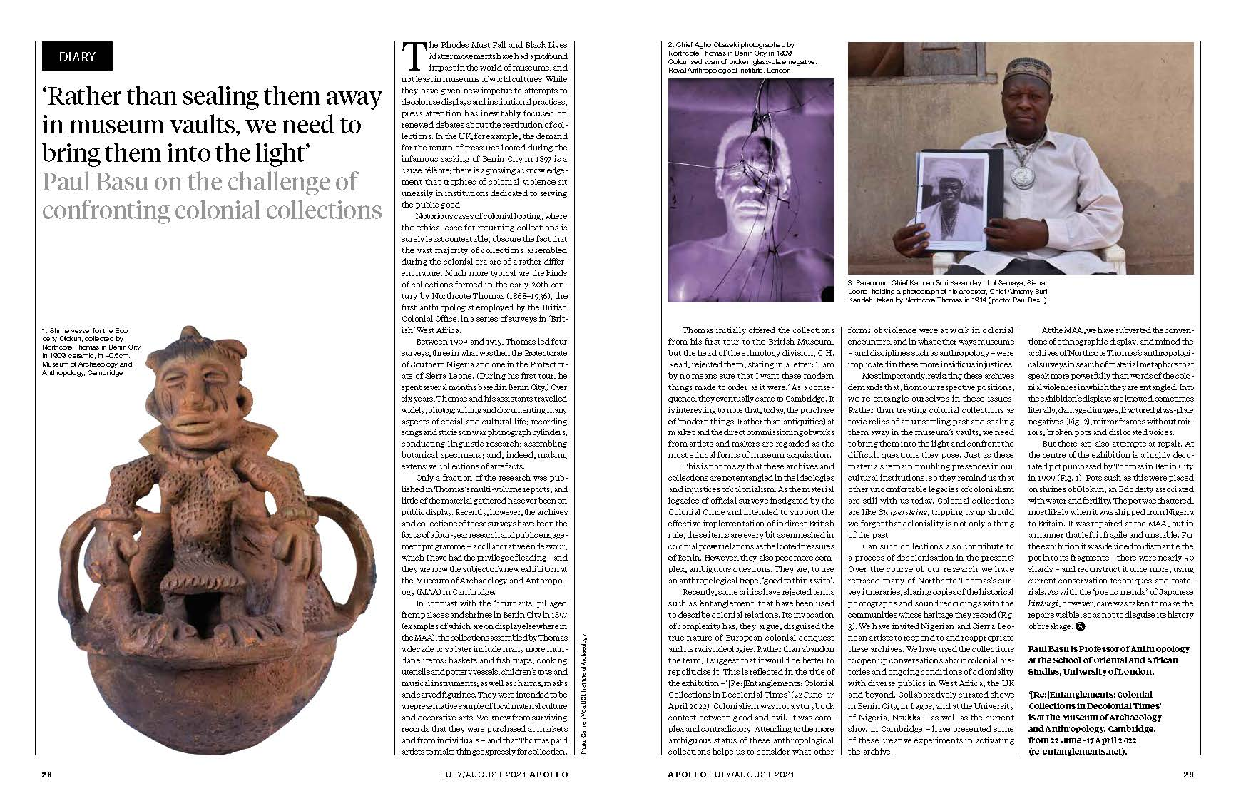 Screenshot of Apollo article. 'Rather than sealing them away in museum vaults, we need to bring them into the light', Paul Basu on the challenge of confronting colonial collections.