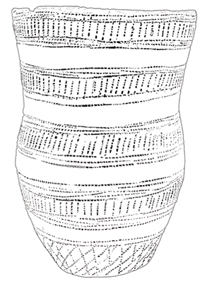 A line drawing of a Beaker-style pot. There are horizontal segments containing dotted patterns.