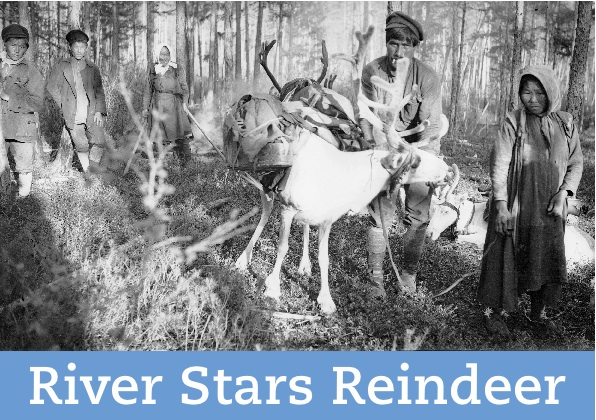 """A black and white photo of """"Reindeer with pack & crib held by Kardin & Nikolaevich Buldotovsky."""""""