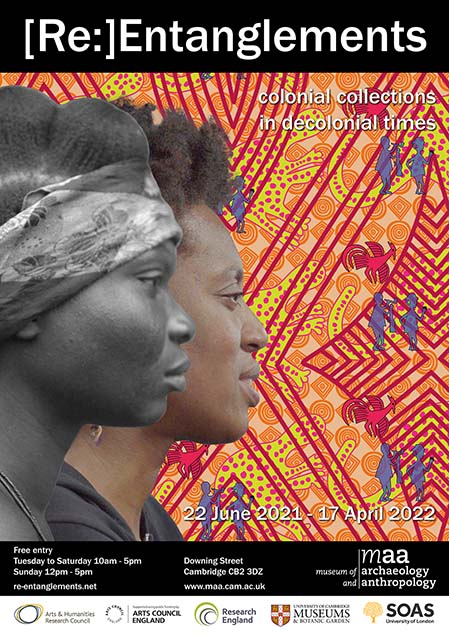 Exhibition poster featuring a colourful, Nigerian printed background, white text, and black header and footer with info. A black and white profile photograph of a woman sits in front of a modern photograph of a woman, also in portrait.