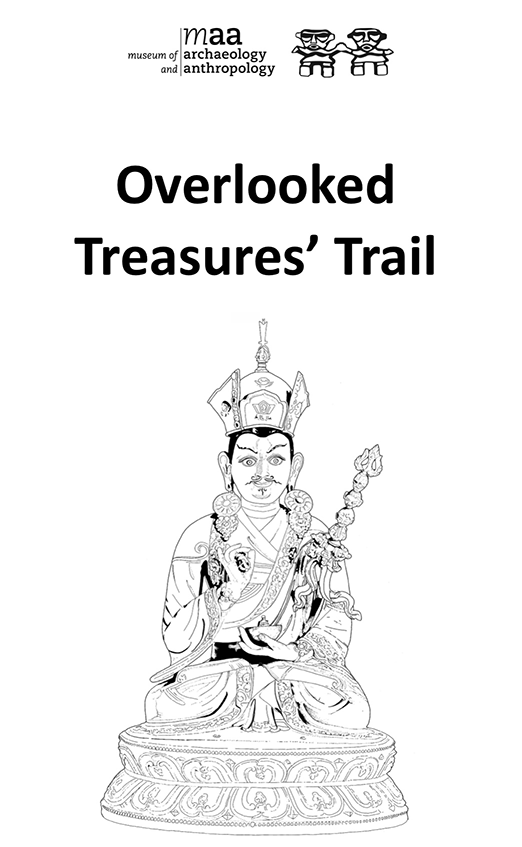 Overlooked treasures trail front cover. Title text and logo above a black and white line drawing of an Indian deity object.