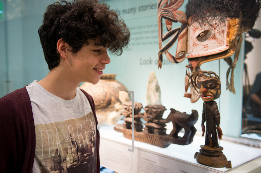 A student looks at a display