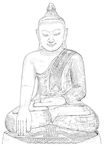 A line drawing of a statue of a seated buddha, in the 'earth- touching position'