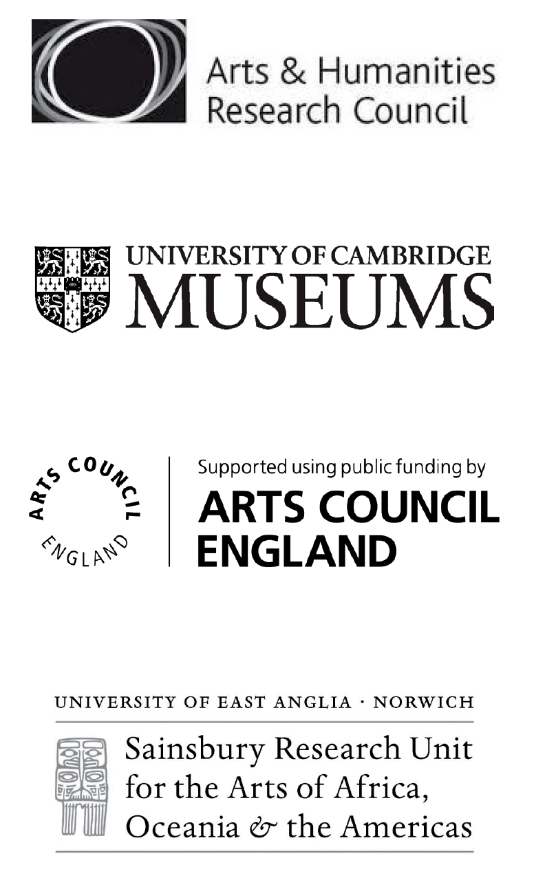 Logos of: Arts & Humanities Research Council, University of Cambridge Museums, Arts Council England, Sainsbury Research Unit