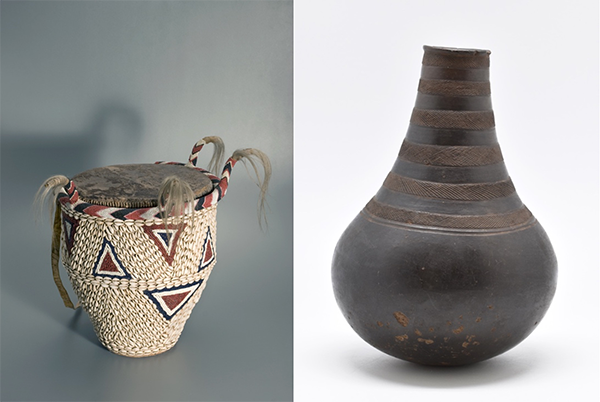 Two photographs of objects. On the left is a royal drum in cream, red and black with triangular decoration, and on the right is a black glazed earthenware milk pot.