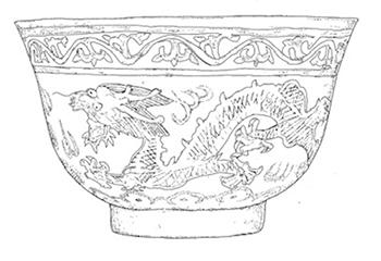 A line drawing of a Tibetan tea cup.