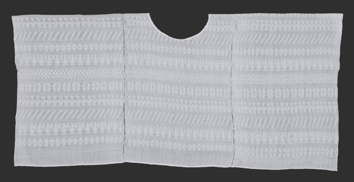 Hand-woven white cotton huipil or woman's blouse