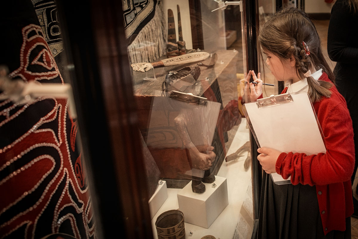 A student looks at a display in the Maudslay Gallery