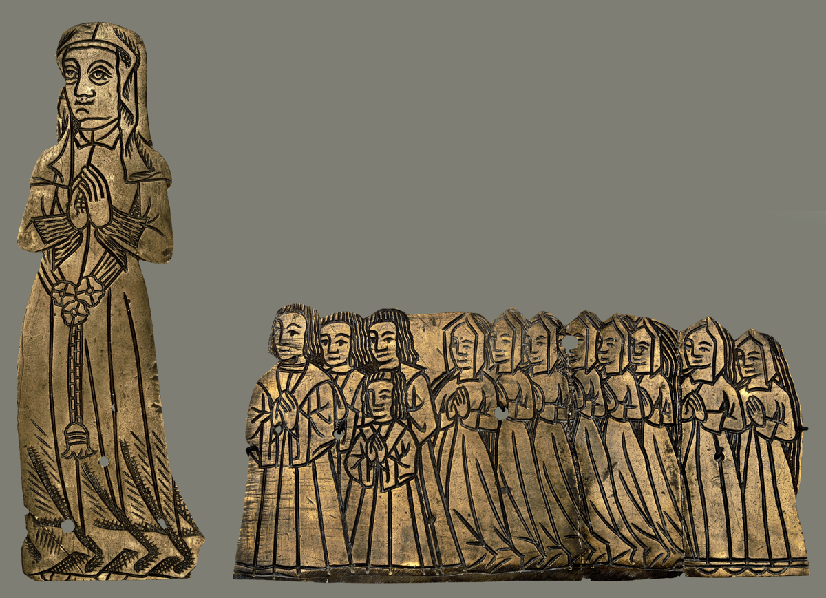 Medieval English palimpsest monumental brass to a lady and her four sons and eight daughters