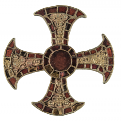 The Trumpington Cross. Gold and garnet cloisonné pectoral cross, with central roundel and flaring arms. Anglo-saxon from Cambridgeshire, UK.
