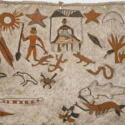 Pir natal (Christmas mat) showing Mary giving birth in a traditional Asmat forest camp