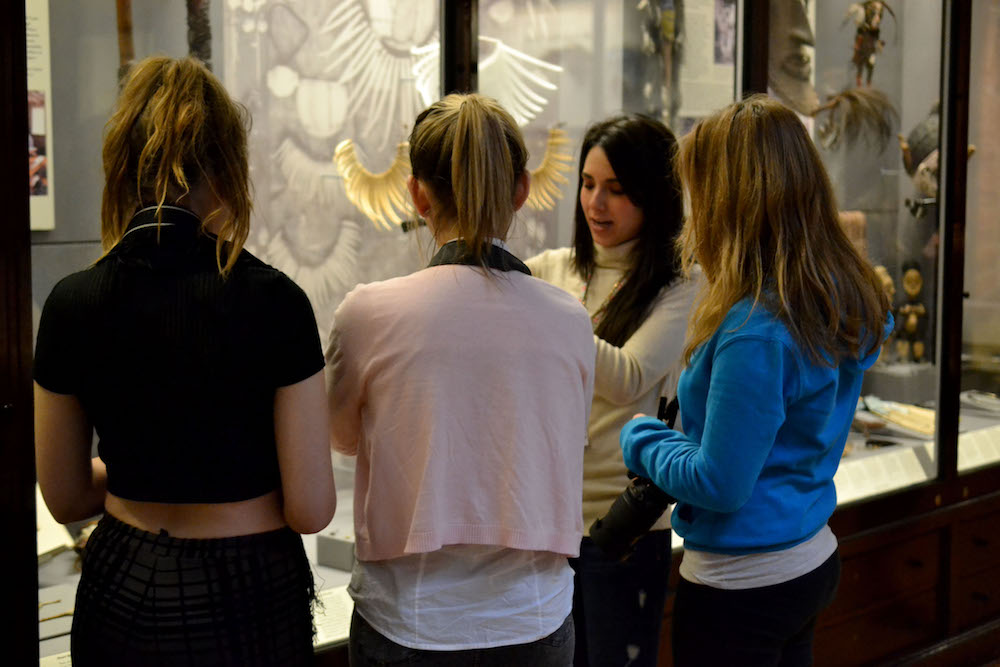 Students look at a display in the Maudslay Gallery