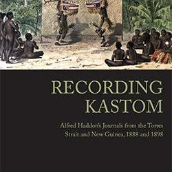Book cover of 'Recording Kastom', black background on the bottom half and a colour drawing of a ceremonial occasion above