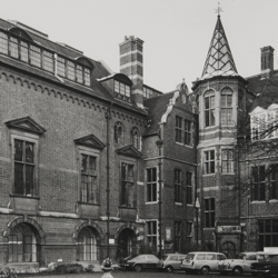 A black and white photograph of part of the exterior of MAA, circa 1975