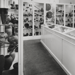 A black and white photograph of the Clarke Gallery, circa 1975